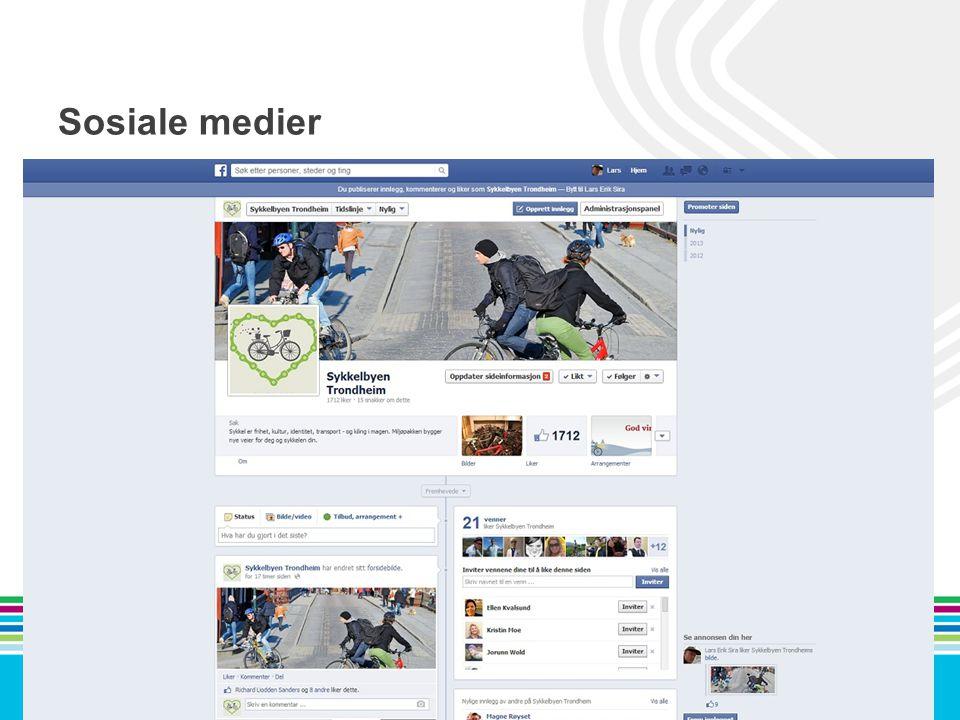Sosiale medier facebook.com/ sykkelbyenTrondheim