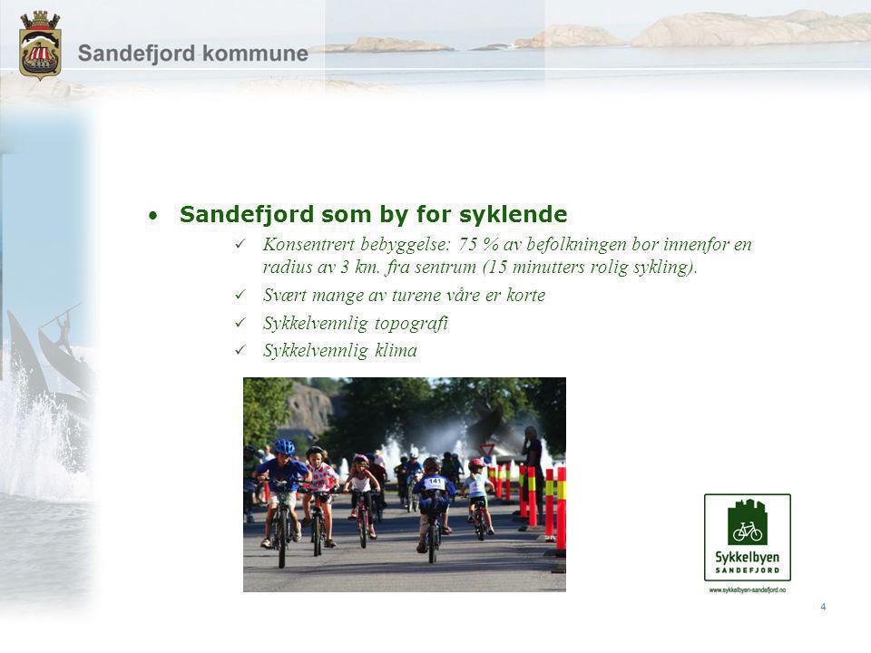 4 Sandefjord som by for syklende Konsentrert bebyggelse: 75 % av befolkningen bor innenfor en radius av 3 km.