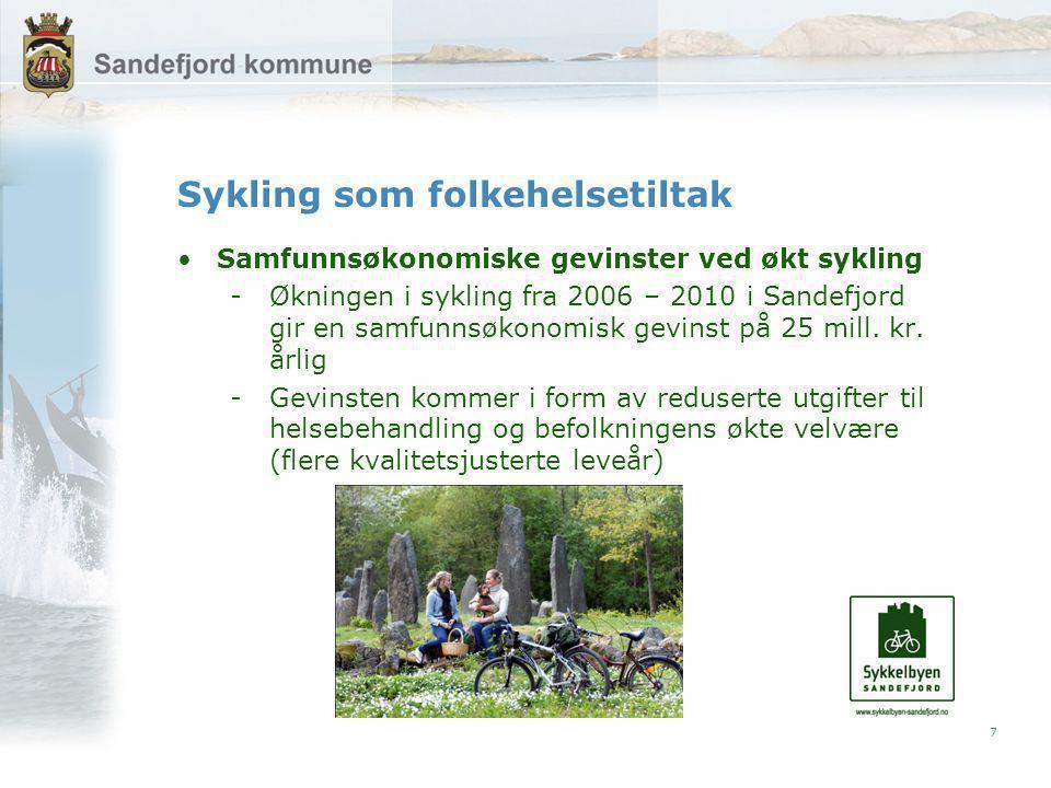 7 Sykling som folkehelsetiltak Samfunnsøkonomiske gevinster ved økt sykling -Økningen i sykling fra 2006 – 2010 i Sandefjord gir en samfunnsøkonomisk gevinst på 25 mill.
