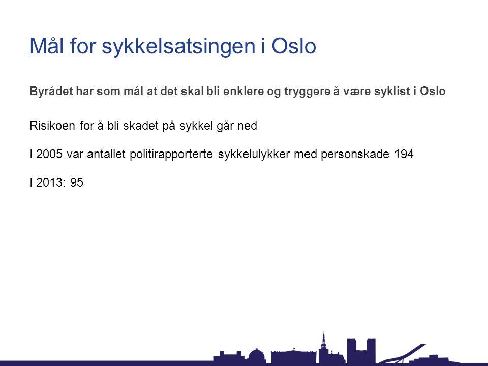 Mål for sykkelsatsingen i Oslo Byrådet har som mål at det skal bli enklere og tryggere å være syklist i Oslo Risikoen for å bli skadet på sykkel går n
