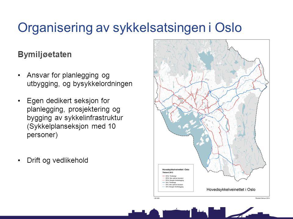Organisering av sykkelsatsingen i Oslo Sykkelprosjektet Etablert høsten 2010 som en midlertidig etat Bidra til å finne gjennomførbare løsninger for utbygging av hovedsykkelveinettet Være en pådriver for gjennomføring av nye tiltak Gjennomføre kampanjer rettet mot Oslos innbyggere Bidra til en styrket og positiv markedsføring av Oslo kommunes satsing på sykkel.