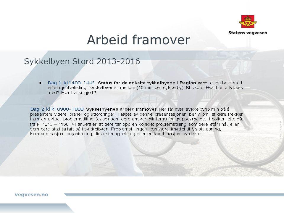 Sykkelbyen Stord 2013-2016 Arbeid framover