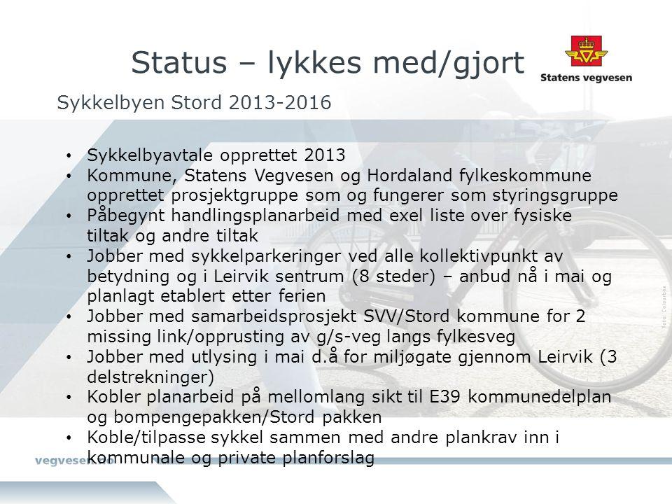 Sykkelbyen Stord 2013-2016 Sykkelbyavtale opprettet 2013 Kommune, Statens Vegvesen og Hordaland fylkeskommune opprettet prosjektgruppe som og fungerer
