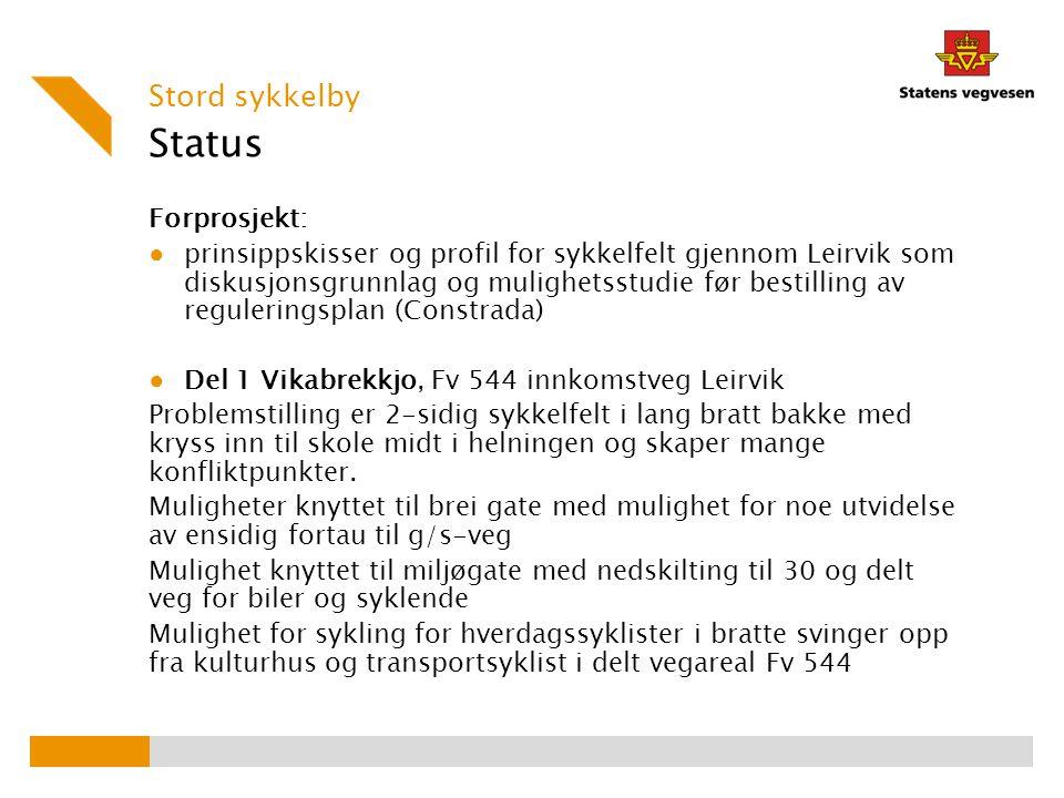 Status Forprosjekt: ● prinsippskisser og profil for sykkelfelt gjennom Leirvik som diskusjonsgrunnlag og mulighetsstudie før bestilling av regulerings