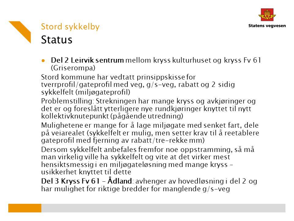 Status ● Del 2 Leirvik sentrum mellom kryss kulturhuset og kryss Fv 61 (Griserompa) Stord kommune har vedtatt prinsippskisse for tverrprofil/gateprofi