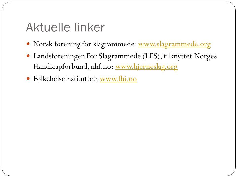 Aktuelle linker Norsk forening for slagrammede: www.slagrammede.orgwww.slagrammede.org Landsforeningen For Slagrammede (LFS), tilknyttet Norges Handic
