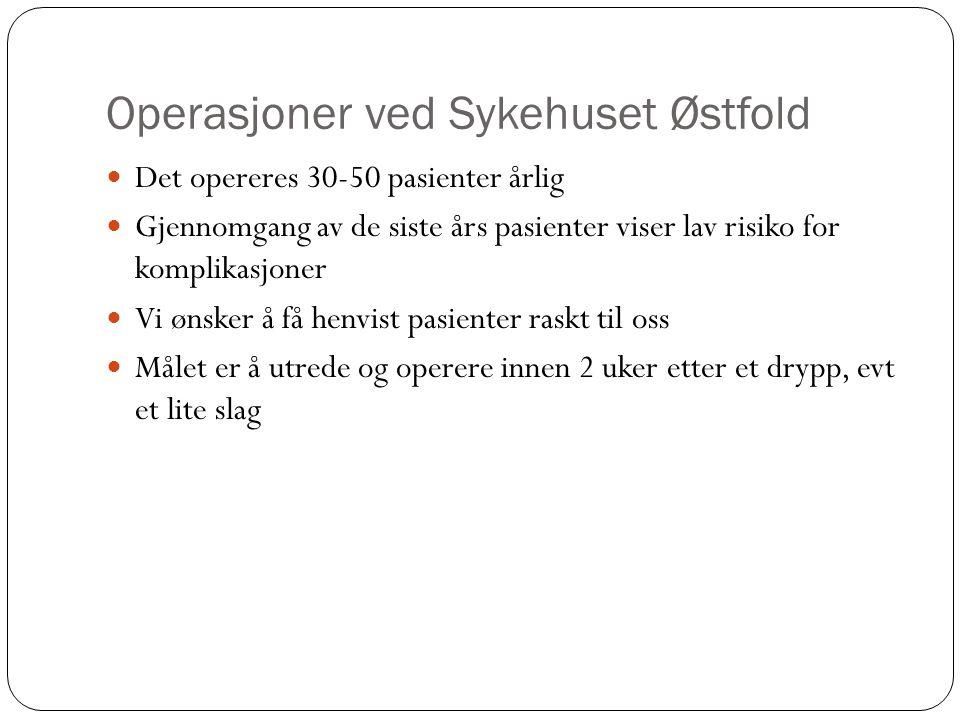 Operasjoner ved Sykehuset Østfold Det opereres 30-50 pasienter årlig Gjennomgang av de siste års pasienter viser lav risiko for komplikasjoner Vi ønsk