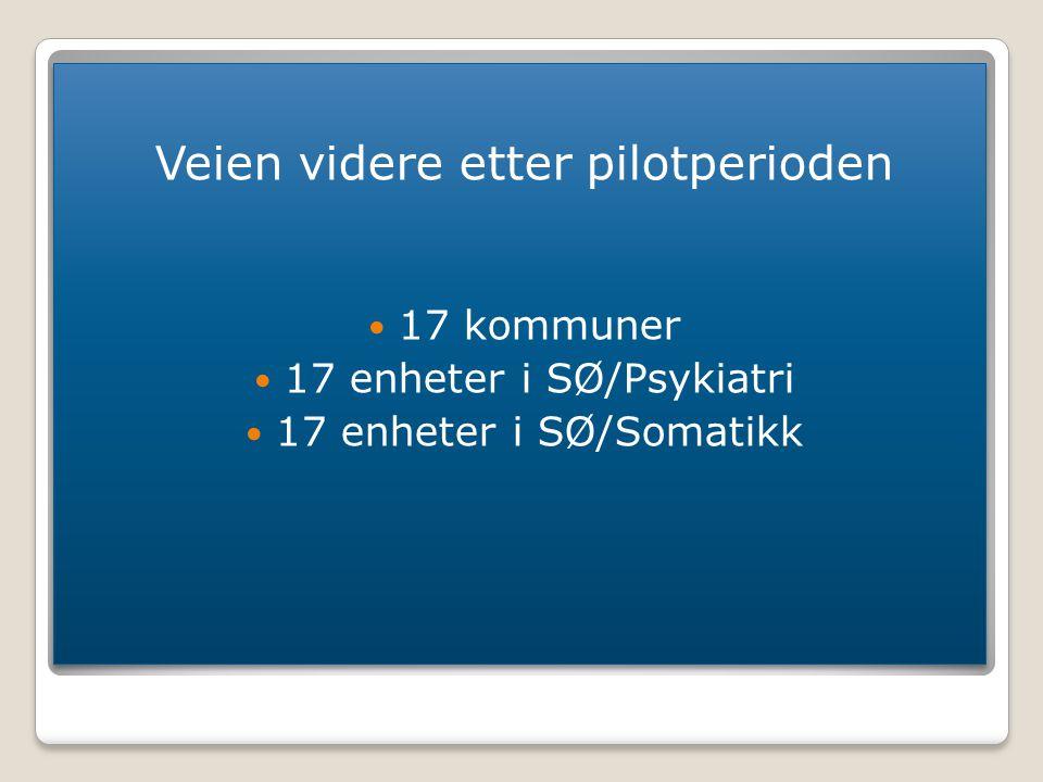 Veien videre etter pilotperioden 17 kommuner 17 enheter i SØ/Psykiatri 17 enheter i SØ/Somatikk Veien videre etter pilotperioden 17 kommuner 17 enhete