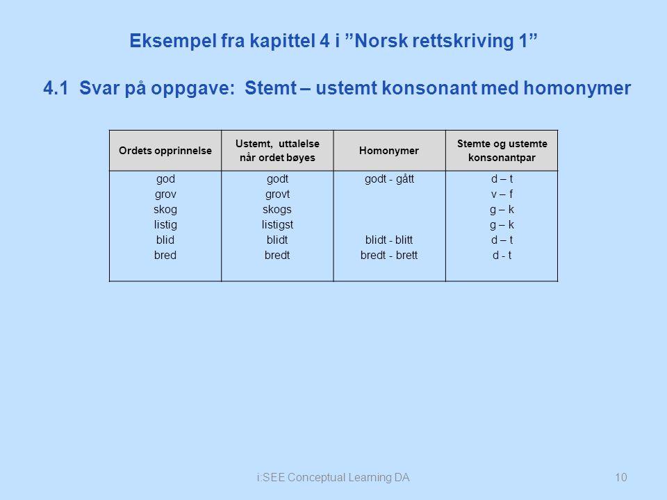 """i:SEE Conceptual Learning DA10 4.1 Svar på oppgave: Stemt – ustemt konsonant med homonymer Eksempel fra kapittel 4 i """"Norsk rettskriving 1"""" Ordets opp"""