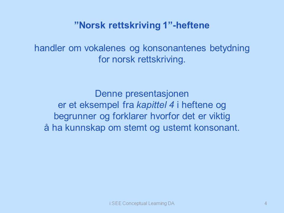 """""""Norsk rettskriving 1""""-heftene handler om vokalenes og konsonantenes betydning for norsk rettskriving. Denne presentasjonen er et eksempel fra kapitte"""