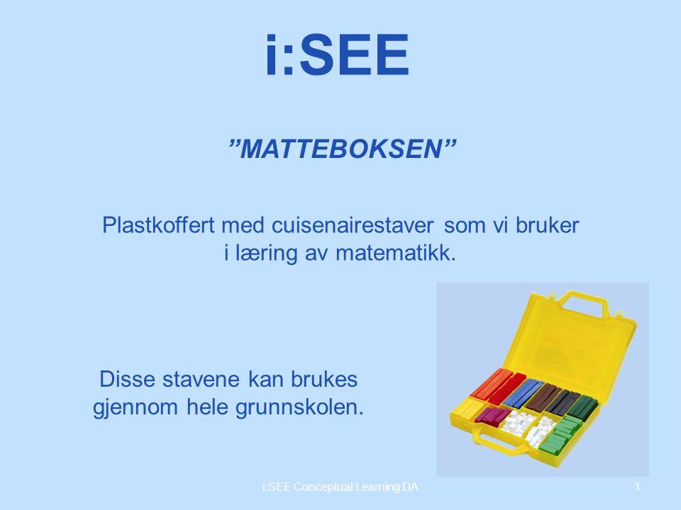MATTEBOKSEN 1 i:SEE Conceptual Learning DA i:SEE Plastkoffert med cuisenairestaver som vi bruker i læring av matematikk.