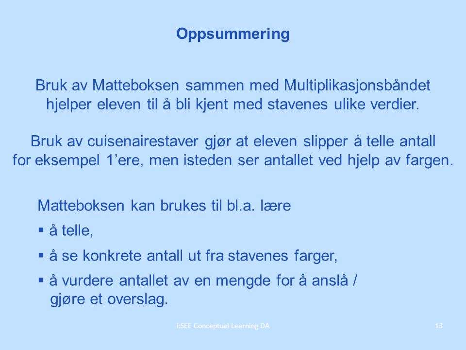 Oppsummering 13i:SEE Conceptual Learning DA Bruk av Matteboksen sammen med Multiplikasjonsbåndet hjelper eleven til å bli kjent med stavenes ulike verdier.