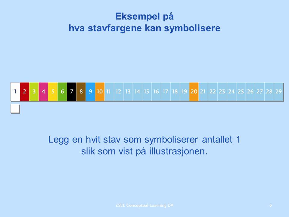 Eksempel på hva stavfargene kan symbolisere Legg en hvit stav som symboliserer antallet 1 slik som vist på illustrasjonen.