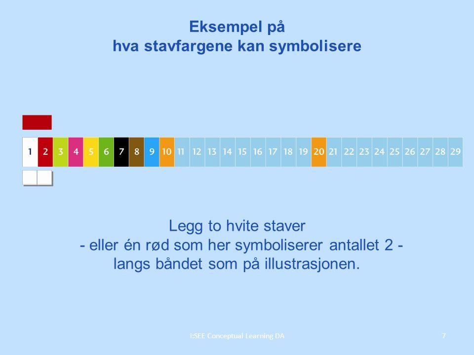 Legg to hvite staver - eller én rød som her symboliserer antallet 2 - langs båndet som på illustrasjonen.