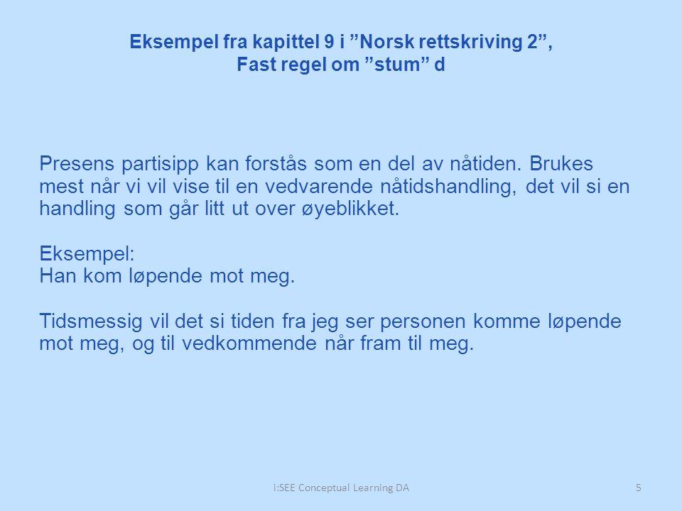 Eksempel fra kapittel 9 i Norsk rettskriving 2 , Fast regel om stum d 5i:SEE Conceptual Learning DA Presens partisipp kan forstås som en del av nåtiden.