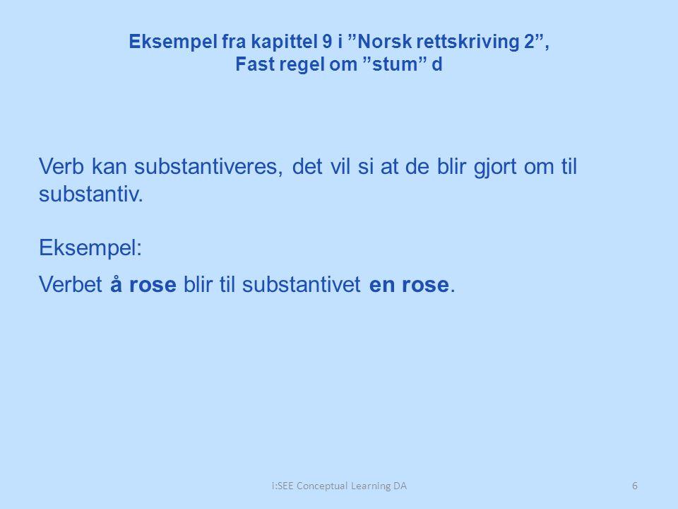 7i:SEE Conceptual Learning DA EntallFlertall Verb i presens partisipp UbestemtBestemtUbestemtBestemt en rose en dans en stråle en storm 9.1.2 Oppgave: Bøy substantivene og sett verbene i presens partisipp Eksempel fra kapittel 9 i Norsk rettskriving 2 , Fast regel om stum d