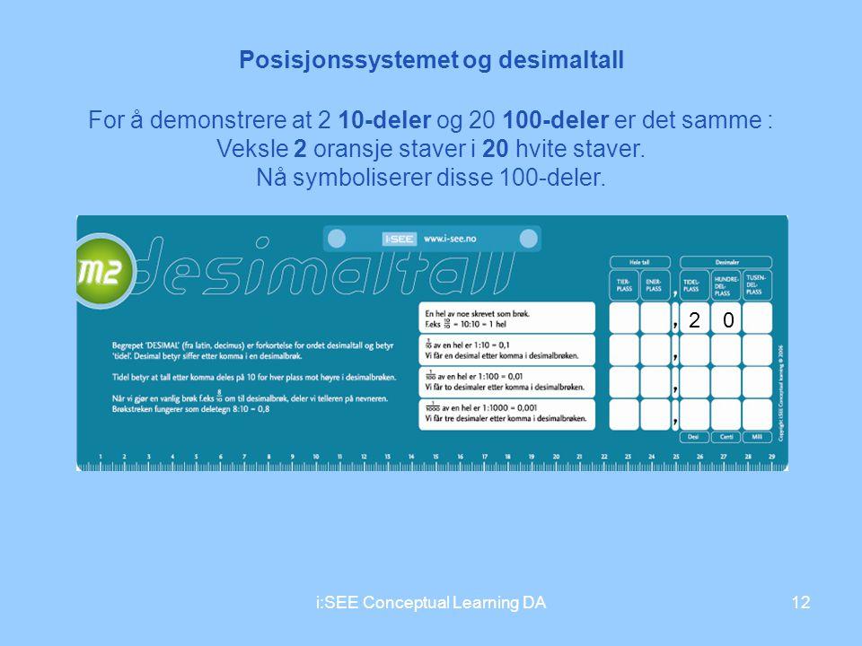 Posisjonssystemet og desimaltall 12i:SEE Conceptual Learning DA 20 For å demonstrere at 2 10-deler og 20 100-deler er det samme : Veksle 2 oransje sta