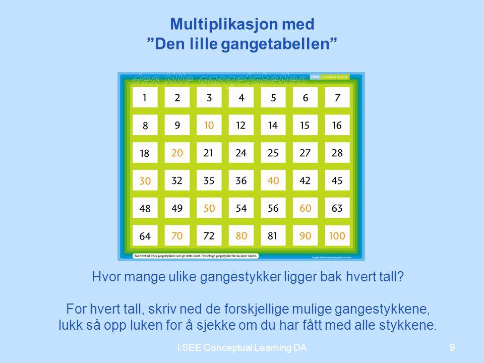 """Multiplikasjon med """"Den lille gangetabellen"""" Hvor mange ulike gangestykker ligger bak hvert tall? For hvert tall, skriv ned de forskjellige mulige gan"""