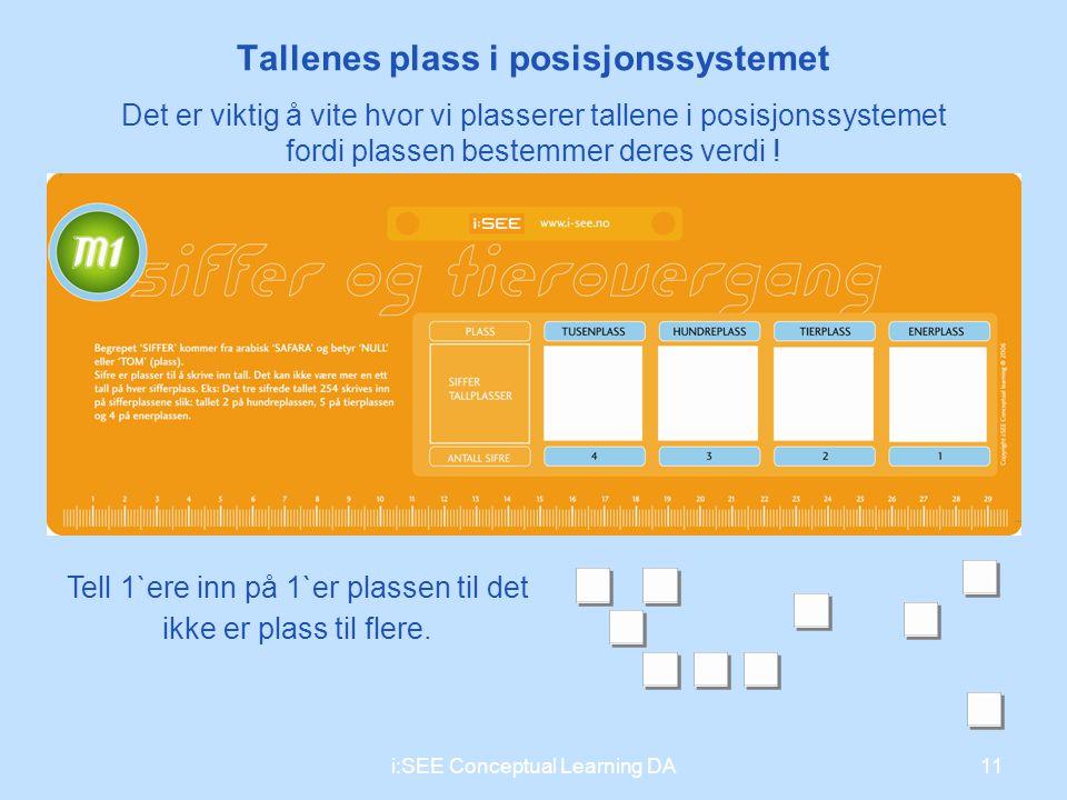 Tallenes plass i posisjonssystemet Tell 1`ere inn på 1`er plassen til det ikke er plass til flere. 11i:SEE Conceptual Learning DA Det er viktig å vite
