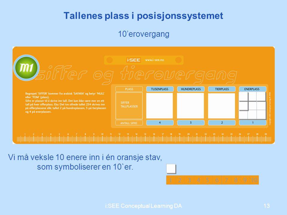 Vi må veksle 10 enere inn i én oransje stav, som symboliserer en 10`er. 13i:SEE Conceptual Learning DA Tallenes plass i posisjonssystemet 10'erovergan