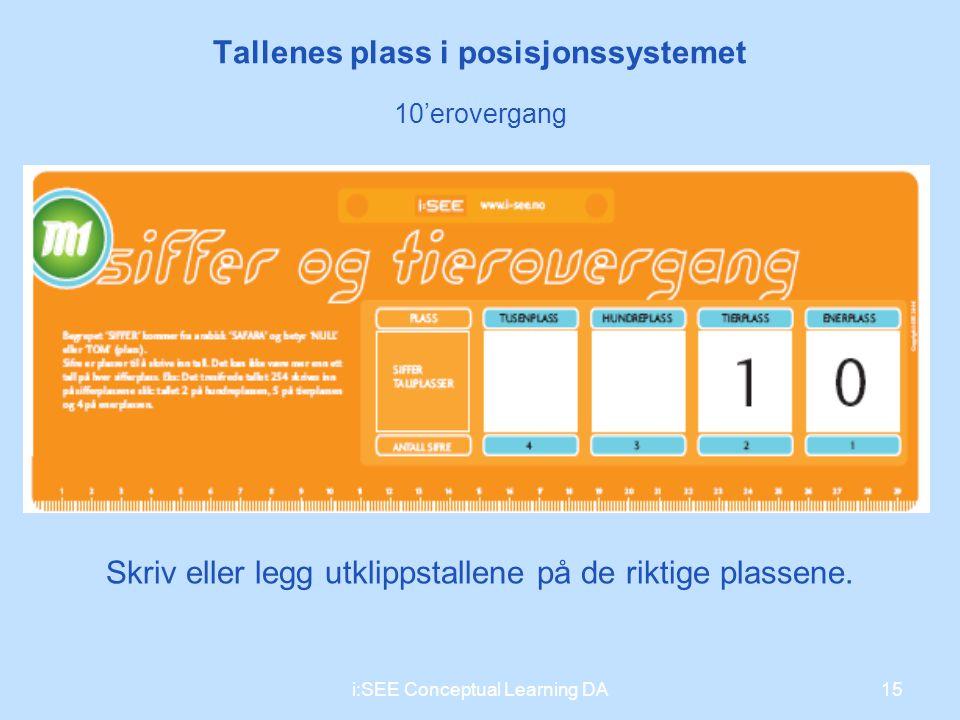 15i:SEE Conceptual Learning DA Tallenes plass i posisjonssystemet 10'erovergang Skriv eller legg utklippstallene på de riktige plassene.