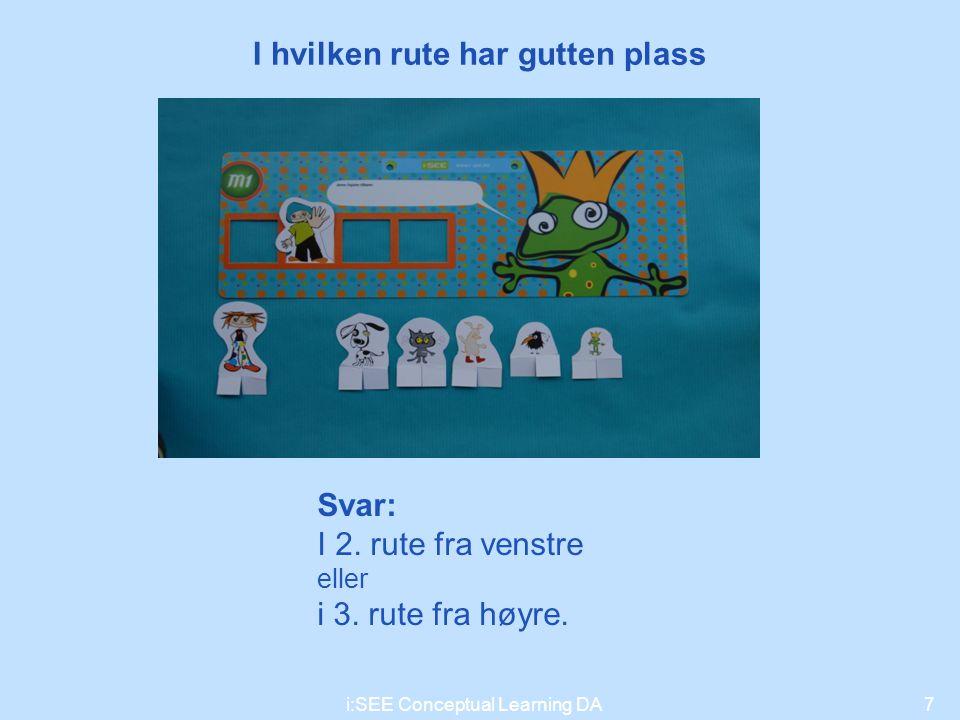 I hvilken rute har gutten plass 7i:SEE Conceptual Learning DA Svar: I 2. rute fra venstre eller i 3. rute fra høyre.