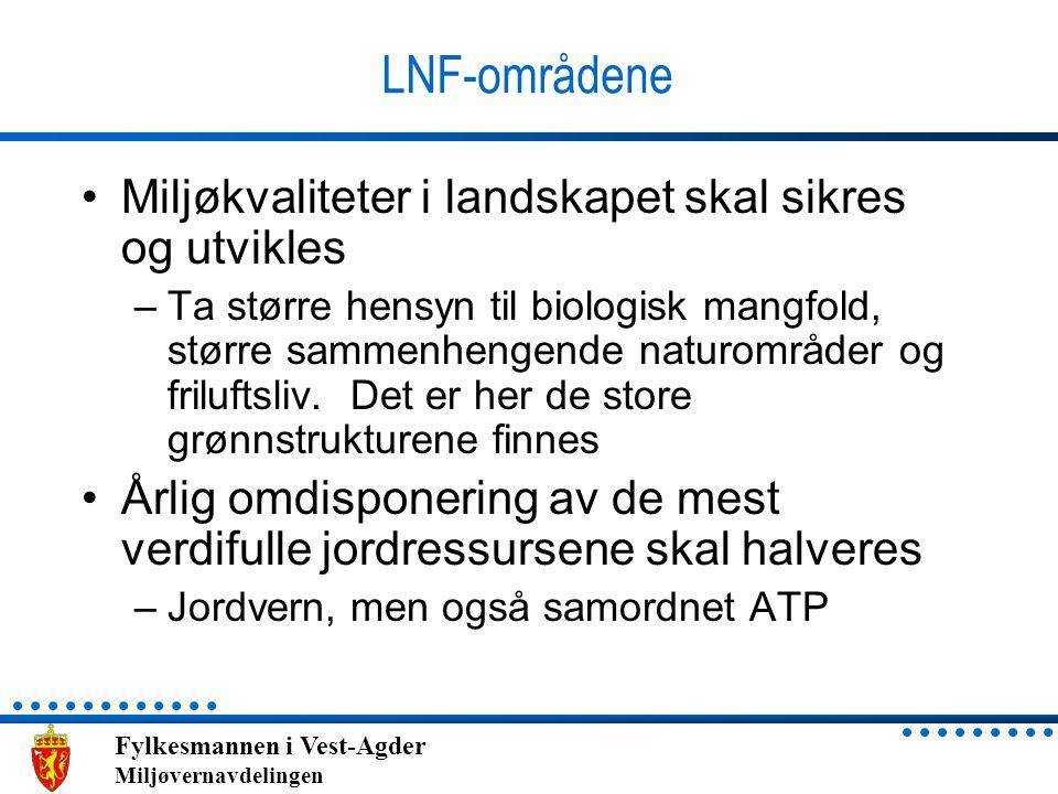 Fylkesmannen i Vest-Agder Miljøvernavdelingen LNF-områdene Miljøkvaliteter i landskapet skal sikres og utvikles –Ta større hensyn til biologisk mangfo