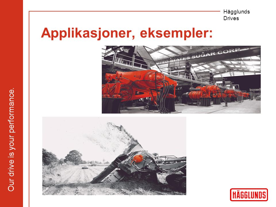 Our drive is your performance. Hägglunds Drives 7 Applikasjoner, eksempler:
