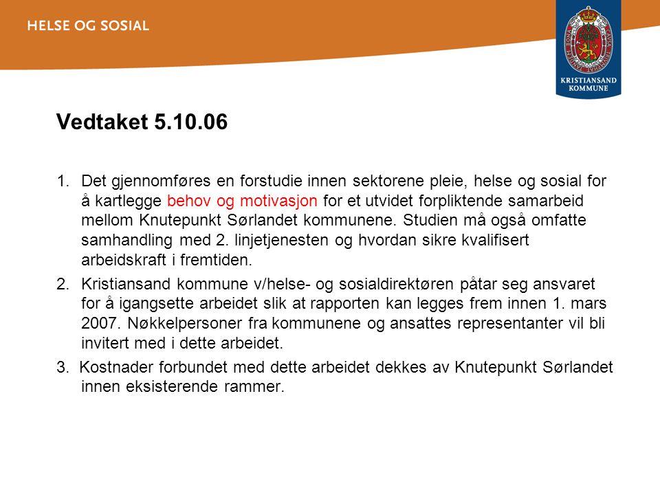 Vedtaket 5.10.06 1.Det gjennomføres en forstudie innen sektorene pleie, helse og sosial for å kartlegge behov og motivasjon for et utvidet forpliktende samarbeid mellom Knutepunkt Sørlandet kommunene.
