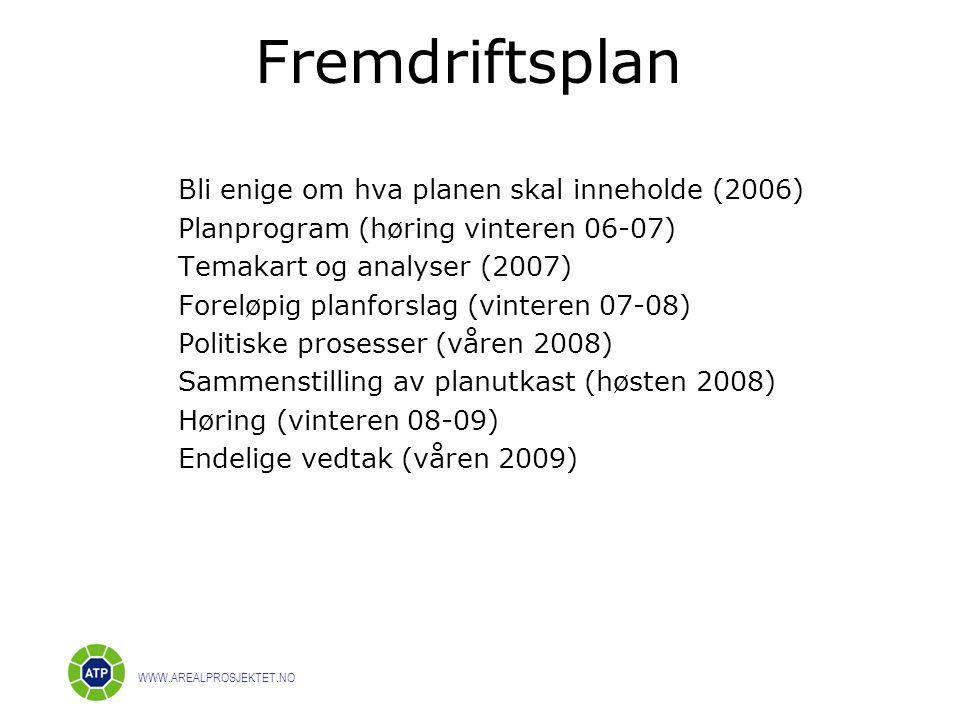Fremdriftsplan WWW.AREALPROSJEKTET.NO Bli enige om hva planen skal inneholde (2006) Planprogram (høring vinteren 06-07) Temakart og analyser (2007) Foreløpig planforslag (vinteren 07-08) Politiske prosesser (våren 2008) Sammenstilling av planutkast (høsten 2008) Høring (vinteren 08-09) Endelige vedtak (våren 2009)