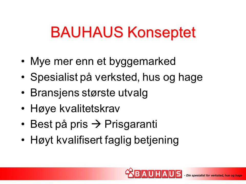 BAUHAUS Konseptet Mye mer enn et byggemarked Spesialist på verksted, hus og hage Bransjens største utvalg Høye kvalitetskrav Best på pris  Prisgarant