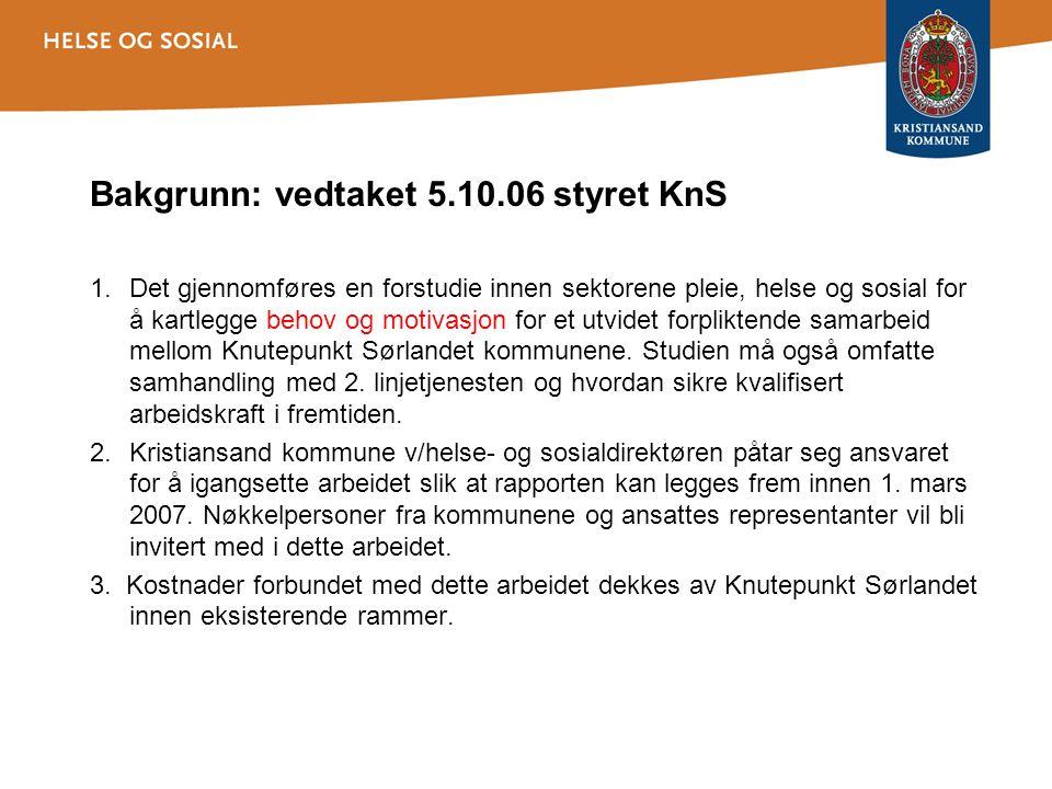 Bakgrunn: vedtaket 5.10.06 styret KnS 1.Det gjennomføres en forstudie innen sektorene pleie, helse og sosial for å kartlegge behov og motivasjon for et utvidet forpliktende samarbeid mellom Knutepunkt Sørlandet kommunene.