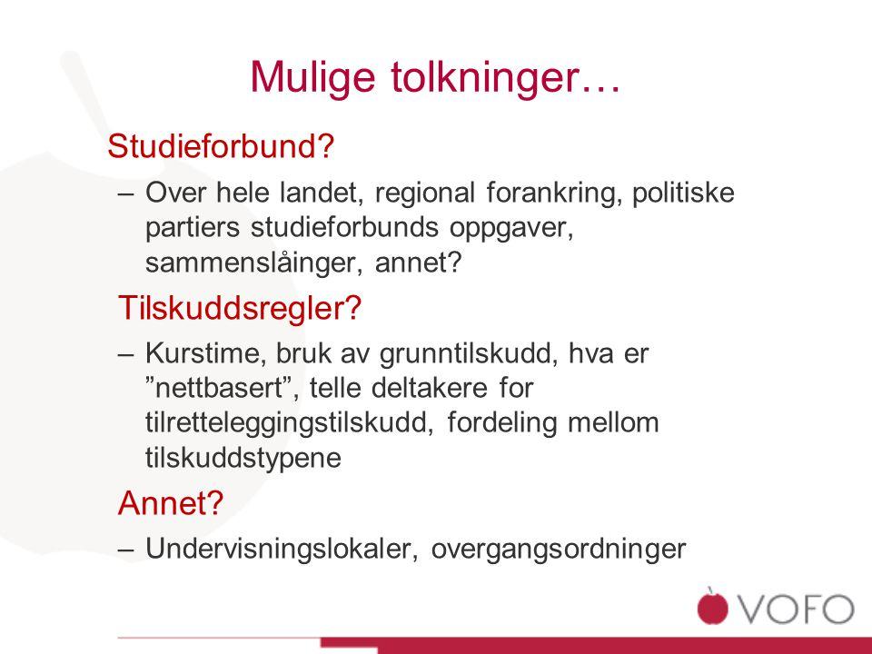 Mulige tolkninger… Studieforbund.