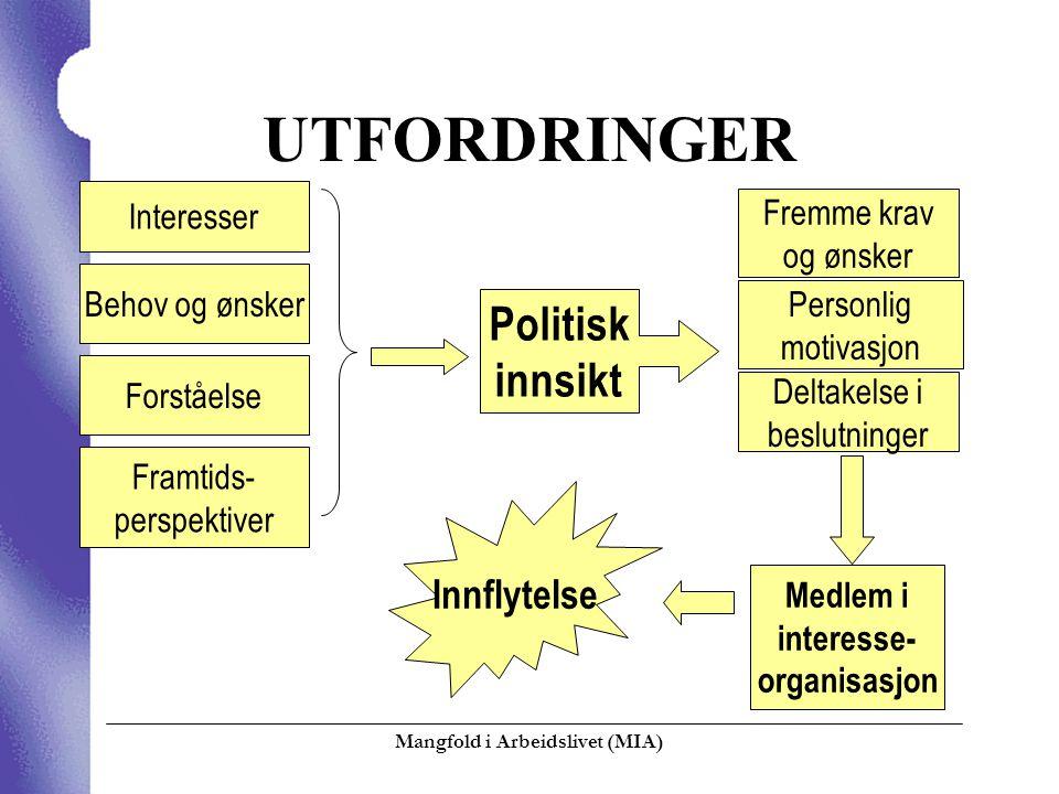 Mangfold i Arbeidslivet (MIA)  UTFORDRINGER Interesser Behov og ønsker Forståelse Framtids- perspektiver Politisk innsikt Deltakelse i beslutninger P
