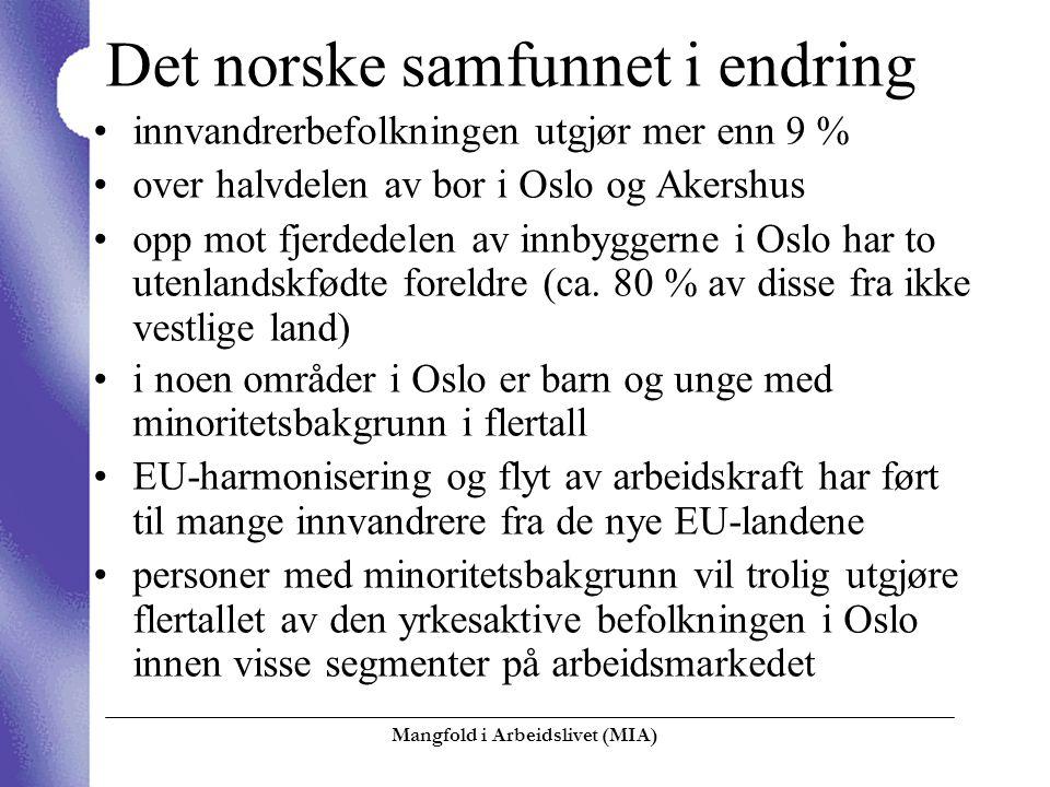 Mangfold i Arbeidslivet (MIA)  Det norske samfunnet i endring innvandrerbefolkningen utgjør mer enn 9 % over halvdelen av bor i Oslo og Akershus opp