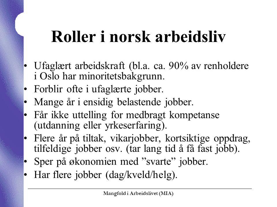 Mangfold i Arbeidslivet (MIA)  Roller i norsk arbeidsliv Ufaglært arbeidskraft (bl.a. ca. 90% av renholdere i Oslo har minoritetsbakgrunn. Forblir of