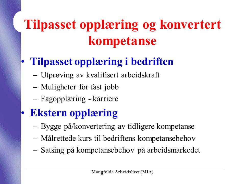 Mangfold i Arbeidslivet (MIA)  Tilpasset opplæring og konvertert kompetanse Tilpasset opplæring i bedriften –Utprøving av kvalifisert arbeidskraft –M