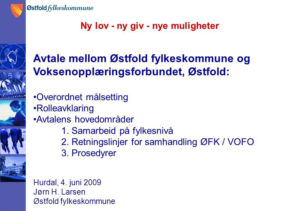 Ny lov - ny giv - nye muligheter Hurdal, 4. juni 2009 Jørn H. Larsen Østfold fylkeskommune Avtale mellom Østfold fylkeskommune og Voksenopplæringsforb