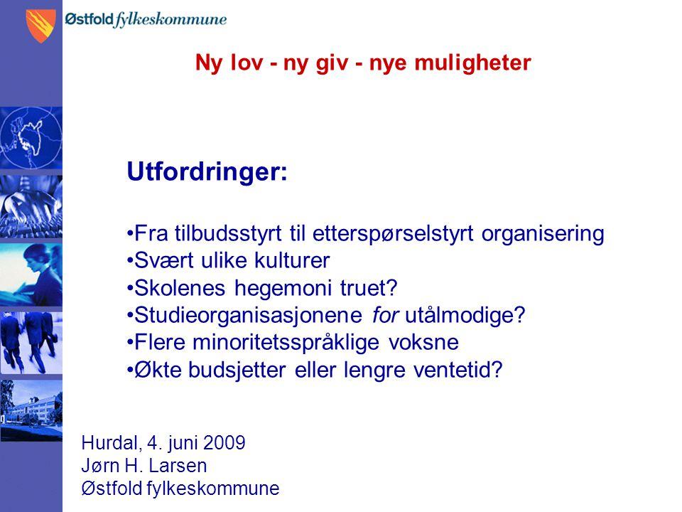Ny lov - ny giv - nye muligheter Hurdal, 4. juni 2009 Jørn H. Larsen Østfold fylkeskommune Utfordringer: Fra tilbudsstyrt til etterspørselstyrt organi