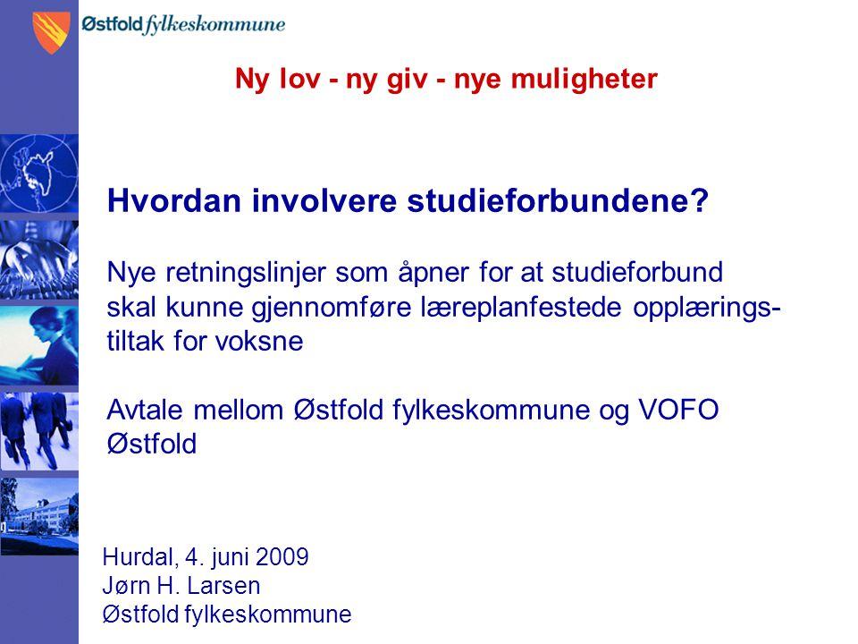 Ny lov - ny giv - nye muligheter Hurdal, 4. juni 2009 Jørn H. Larsen Østfold fylkeskommune Hvordan involvere studieforbundene? Nye retningslinjer som