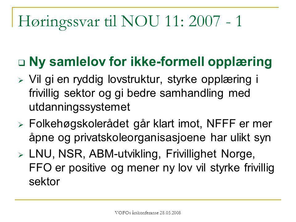 VOFOs årskonferanse 28.05.2008 Høringssvar til NOU 11: 2007 - 1  Ny samlelov for ikke-formell opplæring  Vil gi en ryddig lovstruktur, styrke opplæring i frivillig sektor og gi bedre samhandling med utdanningssystemet  Folkehøgskolerådet går klart imot, NFFF er mer åpne og privatskoleorganisasjoene har ulikt syn  LNU, NSR, ABM-utvikling, Frivillighet Norge, FFO er positive og mener ny lov vil styrke frivillig sektor