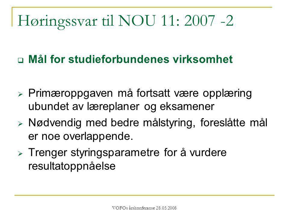 VOFOs årskonferanse 28.05.2008 Høringssvar til NOU 11: 2007 -2  Mål for studieforbundenes virksomhet  Primæroppgaven må fortsatt være opplæring ubundet av læreplaner og eksamener  Nødvendig med bedre målstyring, foreslåtte mål er noe overlappende.