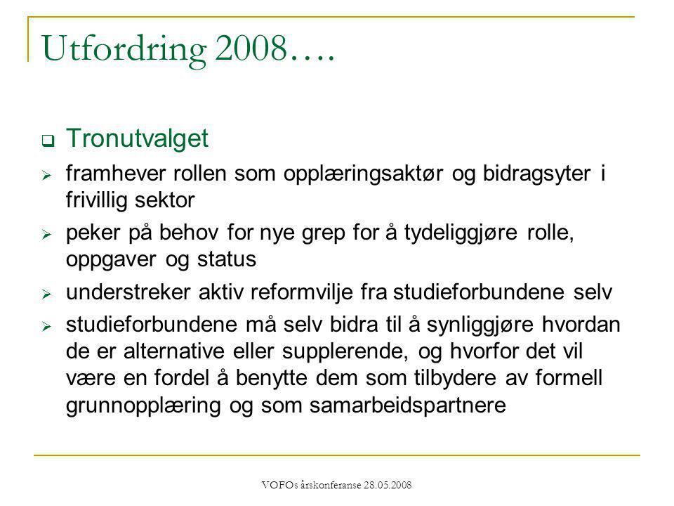 VOFOs årskonferanse 28.05.2008 Utfordring 2008….