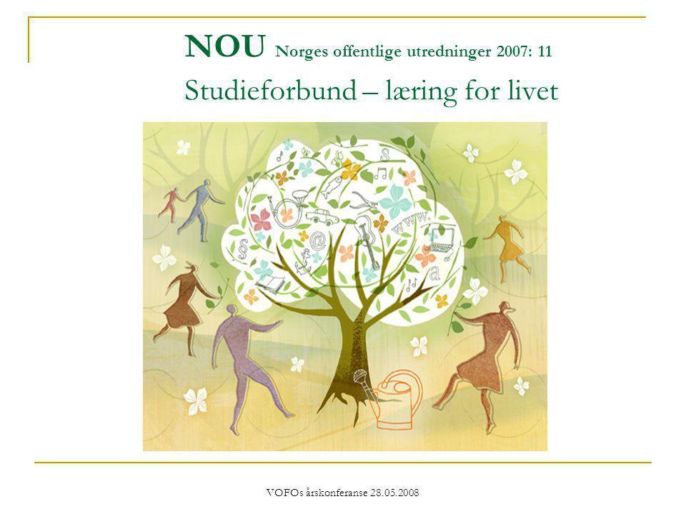 VOFOs årskonferanse 28.05.2008 NOU Norges offentlige utredninger 2007: 11 Studieforbund – læring for livet