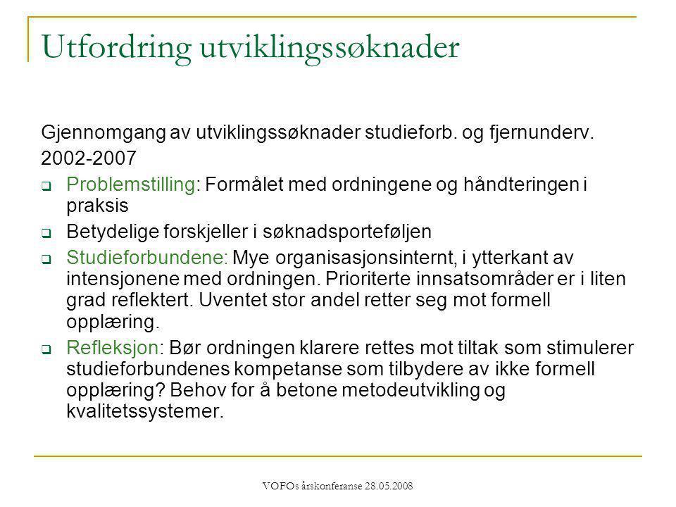 VOFOs årskonferanse 28.05.2008 Utfordring utviklingssøknader Gjennomgang av utviklingssøknader studieforb.