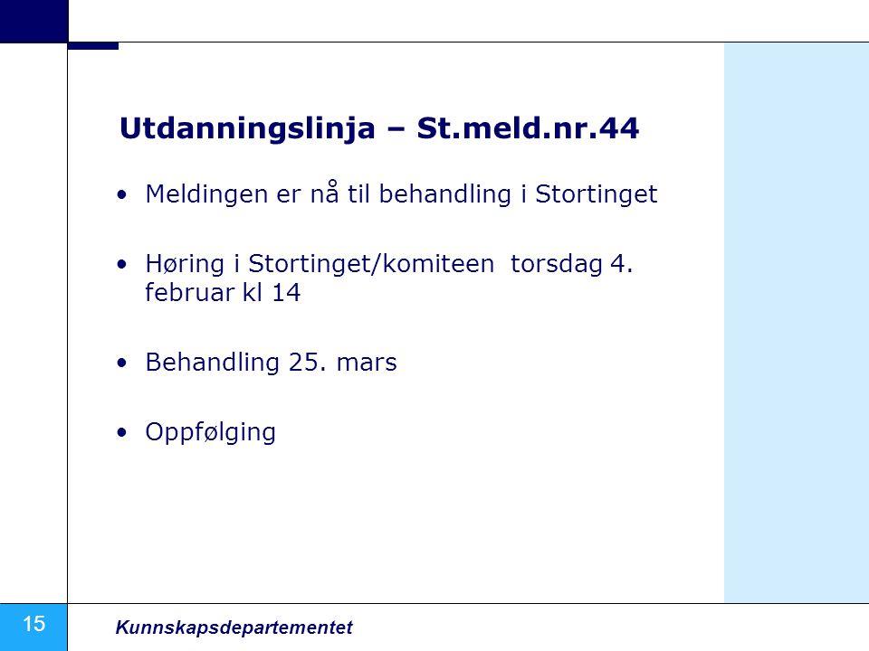 15 Kunnskapsdepartementet Utdanningslinja – St.meld.nr.44 Meldingen er nå til behandling i Stortinget Høring i Stortinget/komiteen torsdag 4.