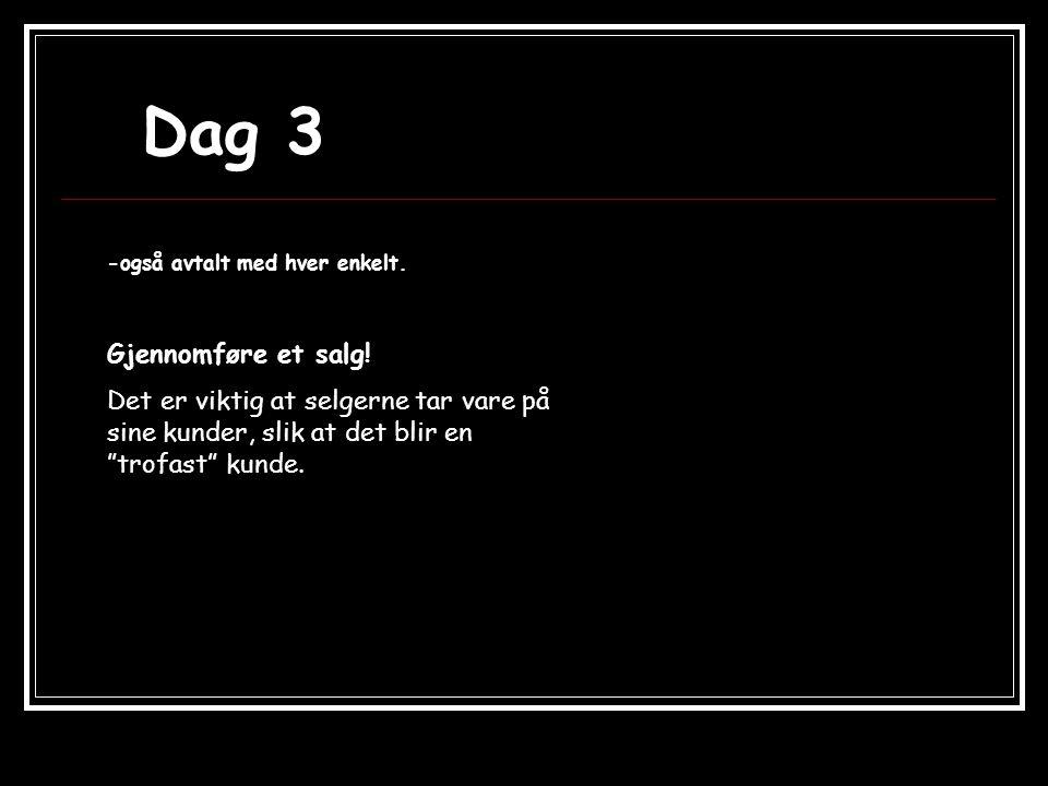 Dag 3 -også avtalt med hver enkelt. Gjennomføre et salg.