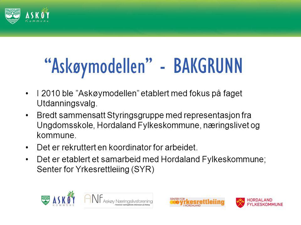 Askøymodellen - BAKGRUNN I 2010 ble Askøymodellen etablert med fokus på faget Utdanningsvalg.