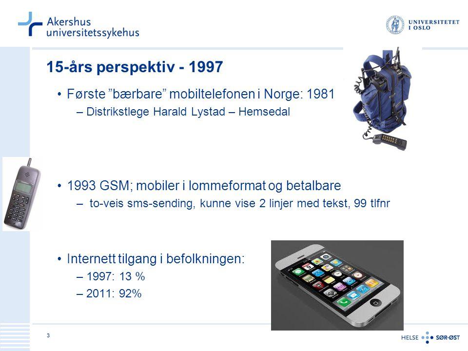 3 15-års perspektiv - 1997 Første bærbare mobiltelefonen i Norge: 1981 –Distrikstlege Harald Lystad – Hemsedal 1993 GSM; mobiler i lommeformat og betalbare – to-veis sms-sending, kunne vise 2 linjer med tekst, 99 tlfnr Internett tilgang i befolkningen: –1997: 13 % –2011: 92%