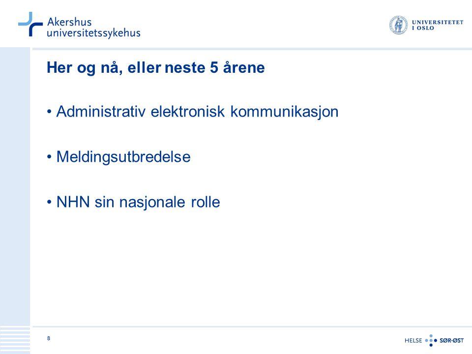 8 Her og nå, eller neste 5 årene Administrativ elektronisk kommunikasjon Meldingsutbredelse NHN sin nasjonale rolle